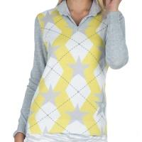 girls golf Pullover RHOMBUS YELLOW (grey)